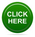 Vector illustration click here green icon round web button Royalty Free Stock Photo