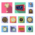 Vector design of clock and time logo. Collection of clock and circle vector icon for stock.