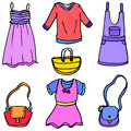 Vector illustration of clothes and bag doodles