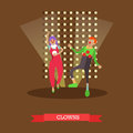 Vector illustration of clowns in circus performance in flat style