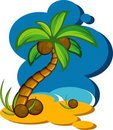 Vector illustration with a coconut palm Royalty Free Stock Images
