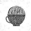 Vector illustration of coffee cup silhouette. calligraphic and lettering poster or postcard.