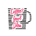 Vector illustration of coffee cup silhouette with stripes and lettering