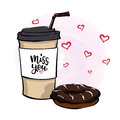 Vector illustration with coffee to go cup, chocolate donut , le