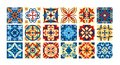 Vector illustration Collection of ceramic tiles in retro colors. A set of square patterns in ethnic style. Vector