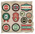 Vector illustration of the collection of vintage retro grunge sale labels badges and icons Royalty Free Stock Photo