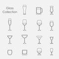 Vector illustration of color wine glasses set