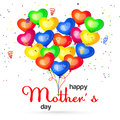 Vector illustration of colorful balloons and Happy Mother`s day greeting.