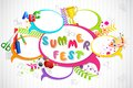 Vector illustration of colorful chat bubble for summer fest Royalty Free Stock Image
