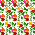 Vector illustration of colorful flowers pattern