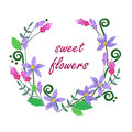 Vector illustration of colorful flowers wreath