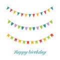 Vector Illustration of Colorful Garlands on white background. Rainbow colors buntings and flags. Holiday set. Festive