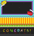Vector illustration colorful graduation hats diplomas pencils word congrats bottom blank chalkboard top eps Royalty Free Stock Photography