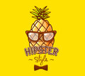 Vector illustration of colorful hipster pineapple with glasses a