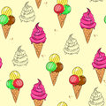 Vector illustration of colorful ice cream pattern Royalty Free Stock Photo