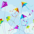 Vector illustration of colorful kites and clouds Royalty Free Stock Photo