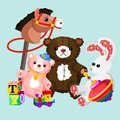 Vector illustration of colorful and lovely toys set. Toys for kids in flat cartoon design.