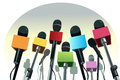 Vector illustration colorful microphones podium copy space Stock Image