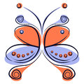 Vector illustration of colorful red and blue cartoon butterfly,