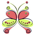 Vector illustration of colorful red and green cartoon butterfly, on the white backgound
