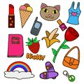Vector illustration colorful set of patches. Decorative vintage hippie style stickers collection.