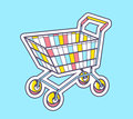 Vector illustration of colorful shopping trolley top view Royalty Free Stock Photo
