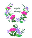 Vector illustration of colorful sweet flowers