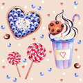Vector illustration with colorful sweets: cake with blueberries and cream, hot chocolate with a chocolate cookies, red-white lolli Royalty Free Stock Photo