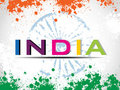 Vector illustration of colorful text India. Royalty Free Stock Image