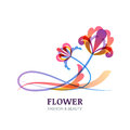 Vector illustration of colorful tropic flowers. Royalty Free Stock Photo