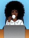Vector illustration of a comic pop art style business woman sitting in an office and drinking coffee. Royalty Free Stock Photo