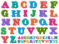 Vector illustration of a complete antiqua alphabet doodle retro styled in caps written with colorful tones Royalty Free Stock Photo