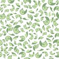 Vector illustration concept of flying money pattern. Seamless background