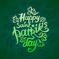 Vector illustration concept of Happy Saint Patriks Day phrase word lettering icon on green background.