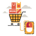Vector illustration concept for on line store. trolley with mouse to buy product Royalty Free Stock Photo