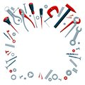 Vector illustration of the contents of a builder toolbox. Household tools arranged in a design composition. Tools of a