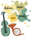 Vector illustration with contrabass, french horn and painting splash.