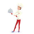 Vector illustration of cook chef carrying dinner plate meal and pointing to that
