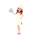 Vector illustration of cook chef girl carrying dinner plate meal