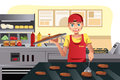 A vector illustration of a cook flipping burgers at a fast food restaurant kitchen Royalty Free Stock Images