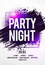 Vector Illustration night dance party music poster template. Electro style concert disco club party event flyer invitation Royalty Free Stock Photo