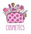 Vector illustration cosmetic bag with cosmetics. on a white background. A set of cosmetics - lipstick, mascara, comb, shadows, a b