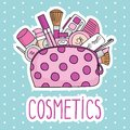 Vector illustration cosmetic bag with cosmetics. on a white background.