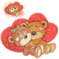 Vector illustration of a couple of brown teddy bears lying embracing on red heart shaped pillows