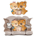 Vector illustration of a couple of brown teddy bears sitting in the cinema hall and watching a movie Royalty Free Stock Photo
