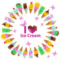 Vector illustration of a couple cartoon funny ice creams with happy smiling faces Royalty Free Stock Photo