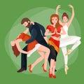 Vector illustration of couple dancing modern dance, Partners dance bachata, Dancing style design concept set