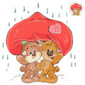 Vector illustration of a couple of enamored brown teddy bears hid from the rain under a big red hear