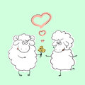 Vector illustration couple of hand drawn cartoon sheep characters in romantic situation against light green background Royalty Free Stock Photos