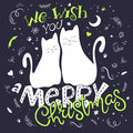 Vector illustration of couple hand drawn cats with greeting lettering phrase - we with you a merry christmas Royalty Free Stock Photo